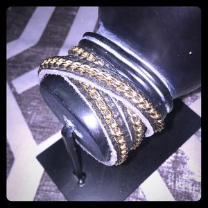 Black wrap bracelet with gold chain